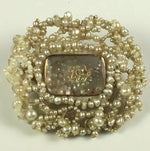 Antique Georgian 22k Gold and Seed Pearl Mourning Brooch, Rock Crystal Locket