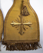 "Antique French Gold Metallic Embroidered LUSH 90"" Long Catholic Priest Vestment"