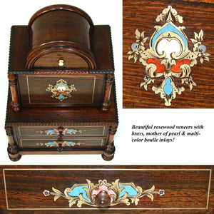 Rare Antique French Napoleon III Era Doll Sized Boulle Miniature Chest, Sew Box