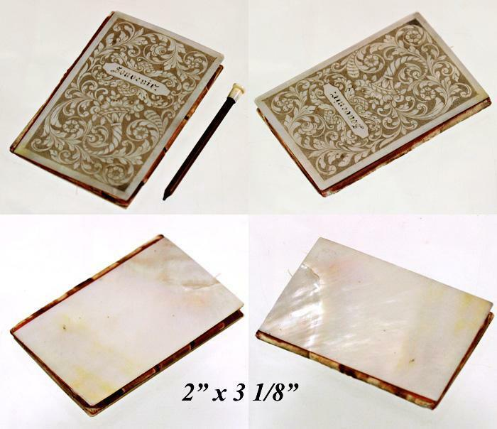 Antique French Engraved Pearl Necessaire, Carnet du Bal or Aide Memoire
