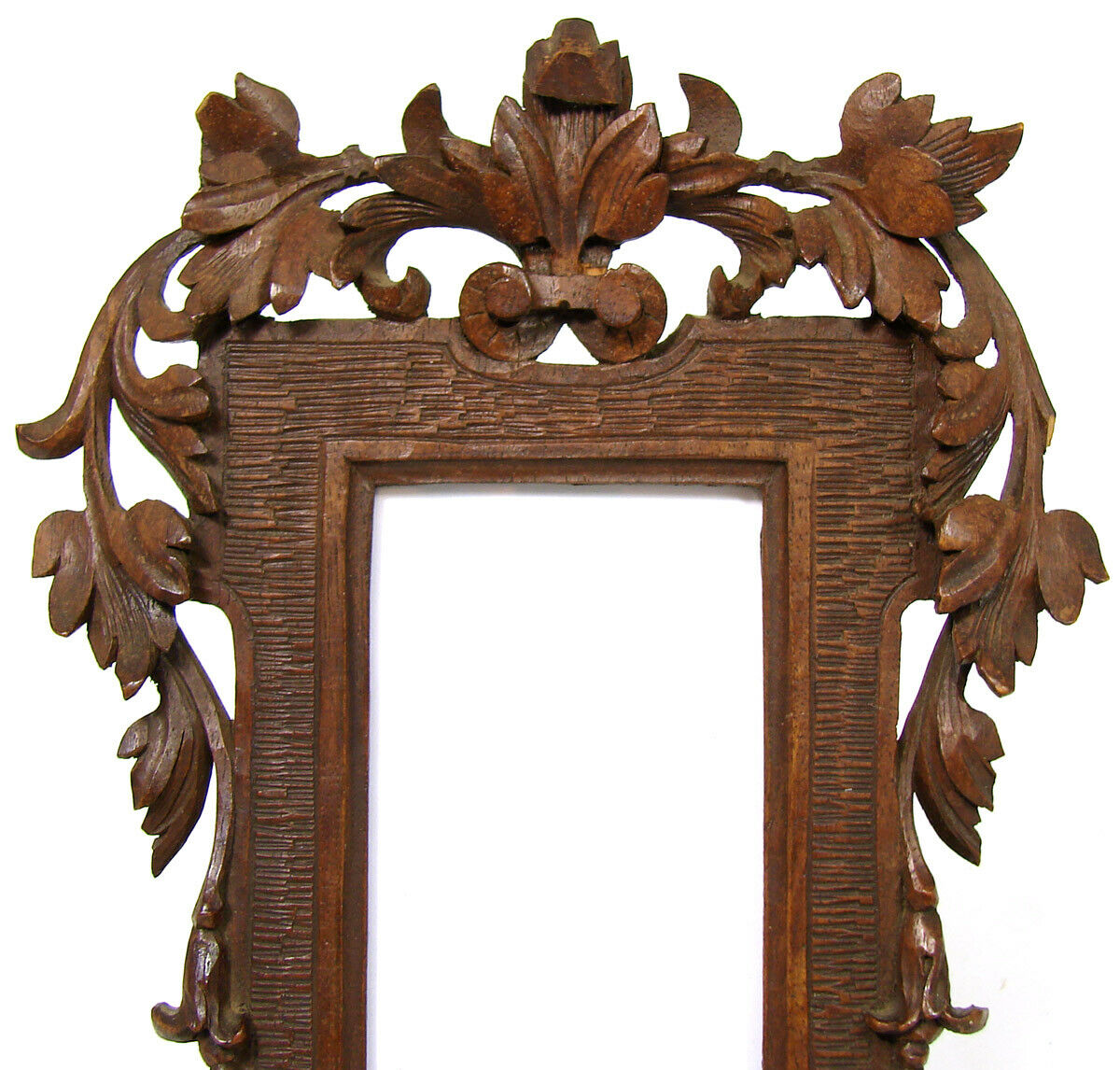 "Antique Black Forest Style Carved 7.25"" Picture Frame, Pierced Vines & Foliage"
