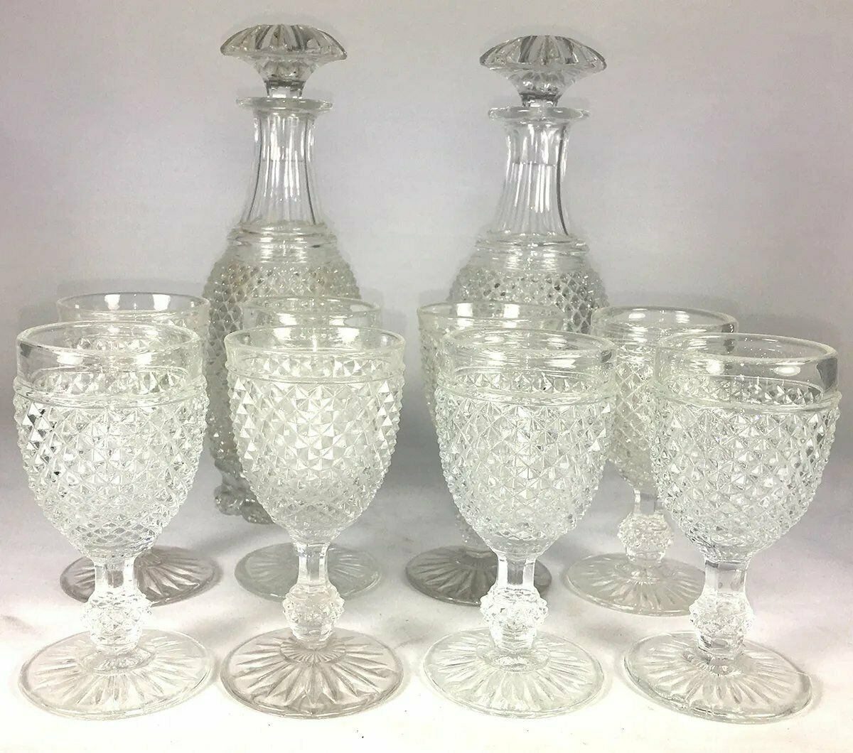 RARE Antique French Baccarat 12pc Crystal Liqueur Service, Diamond Point c. 1830