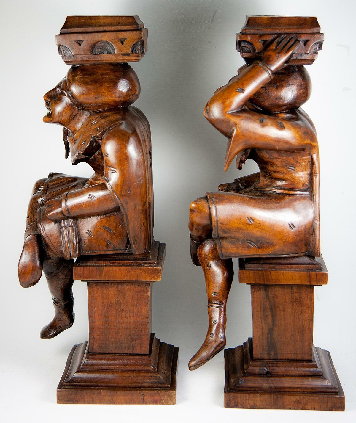 Antique PAIR of Carved Wood Figures, Great as Candle Stands or Cabinet Supports