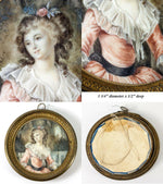 Fine Antique Portrait Miniature, in French Dore Bronze Frame, Romantic Beauty