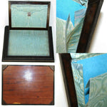 Antique French Desk Box, Letters Chest, Silk Baffles, c. 1830s, HP Floral Inlay