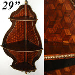 "Magnificent Antique Napoleon III  29"" Corner Shelf, ""Tumbling Blocks"" Marquetry"
