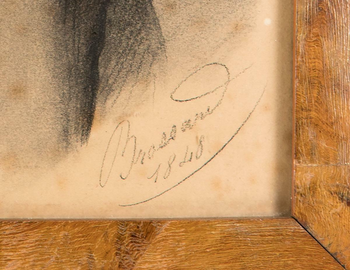 Pair: Antique French Portrait Drawings, Signed by Artist Brossard c. 1848, 15.5""