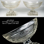 Antique Pair Navette Shape Sweetmeat Bowls, Moser or Bohemian Glass, Stag, Deer