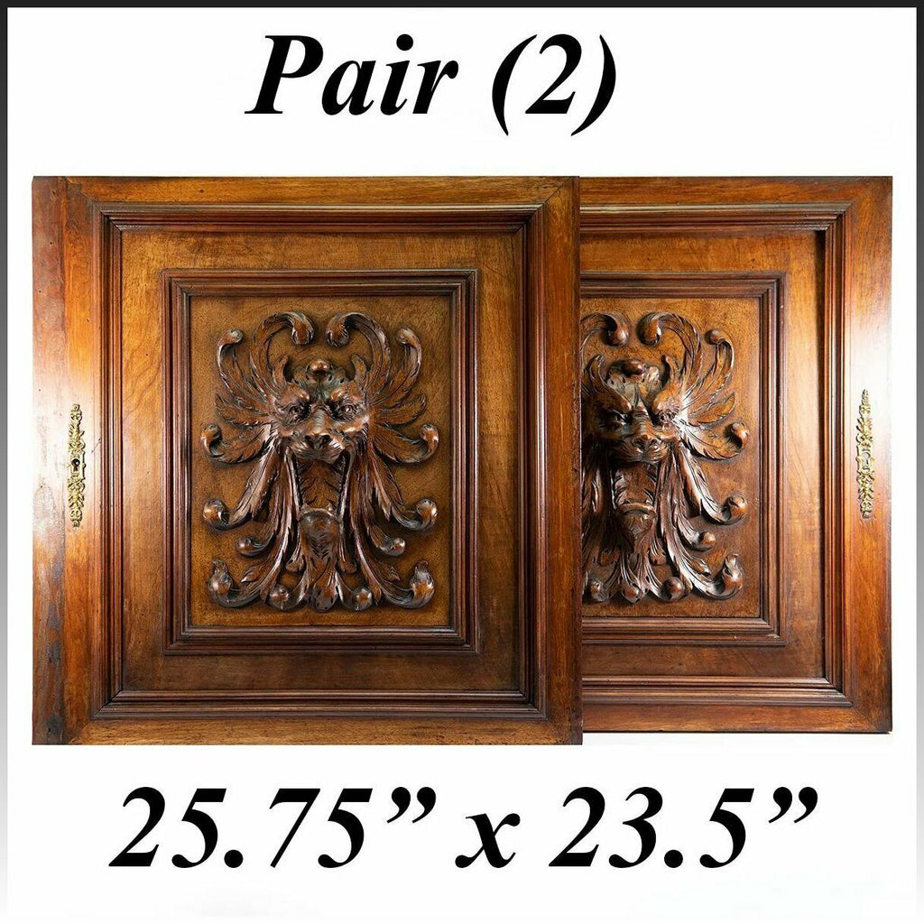 "PAIR (2) Antique HC Oak French Cabinet Doors, Figural Lion Head, Each 26"" x 23"""