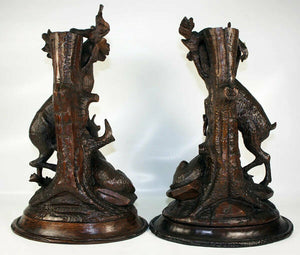 Antique Pair (2) HC Black Forest Candle Holders, Animalier, Fruits of the Hunt
