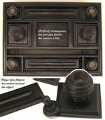 "Large Napoleon III Era Carved Ebony Wood 14"" Double Inkwell or Inkstand"