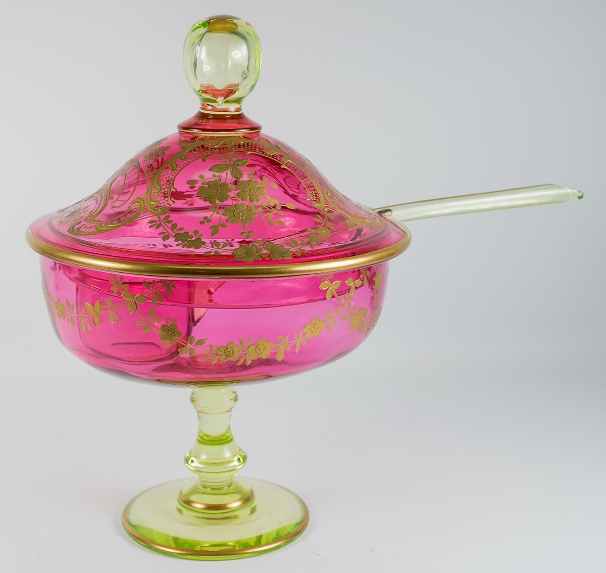 Antique French Raised Gold Enameled Punch Bowl, Ladle, St. Louis, Pink & Green