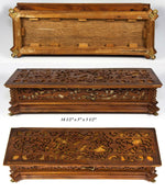 "Antique Black Forest or French Carved 14.5"" Jewelry Box Casket, Animals, Figural"