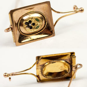 RARE 1700s Palais Royal 18k Gold & Enamel Tie or Cravat Pin, Gentleman's Brooch