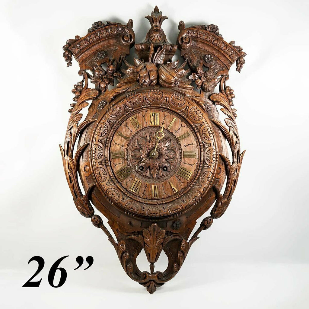 "Superb Antique HC Wood French Wall Clock, 26"" x 17"", Pendulum, Fruit & Acanthus"
