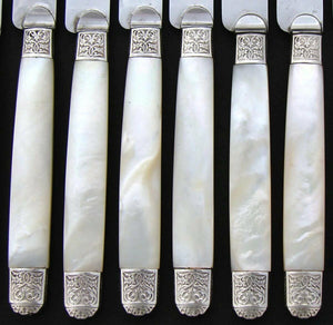 "Antique French Sterling Silver & Pearl 24p 7 7/8"" Entremet or Luncheon Knife Set"