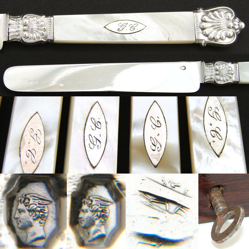 "Antique French Sterling Silver & Mother of Pearl 12pc 8"" Table Knife Set, Box"