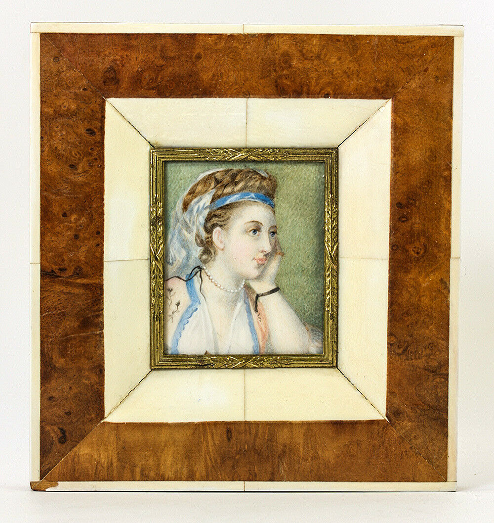 Antique Hand Painted Portrait Miniature in Fab Frame, Exotic Costumed Lady