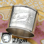 "Antique French .800 Silver Napkin Ring, Guilloche Style Decoration, ""Anatole"""