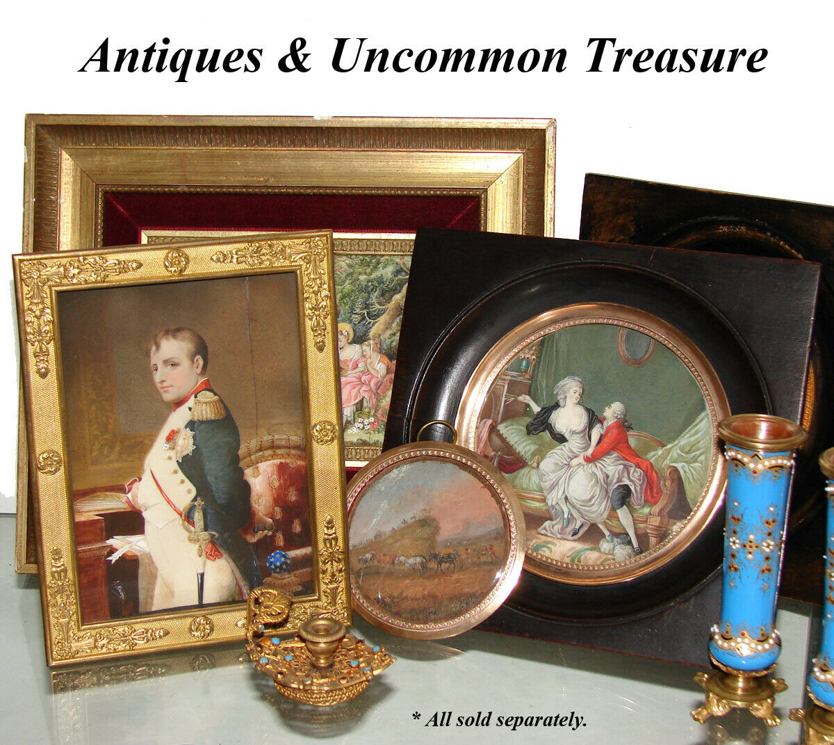 Antique French c.1830-50 Hand Painted Miniature, Horses, Cart Cannon & Soldiers