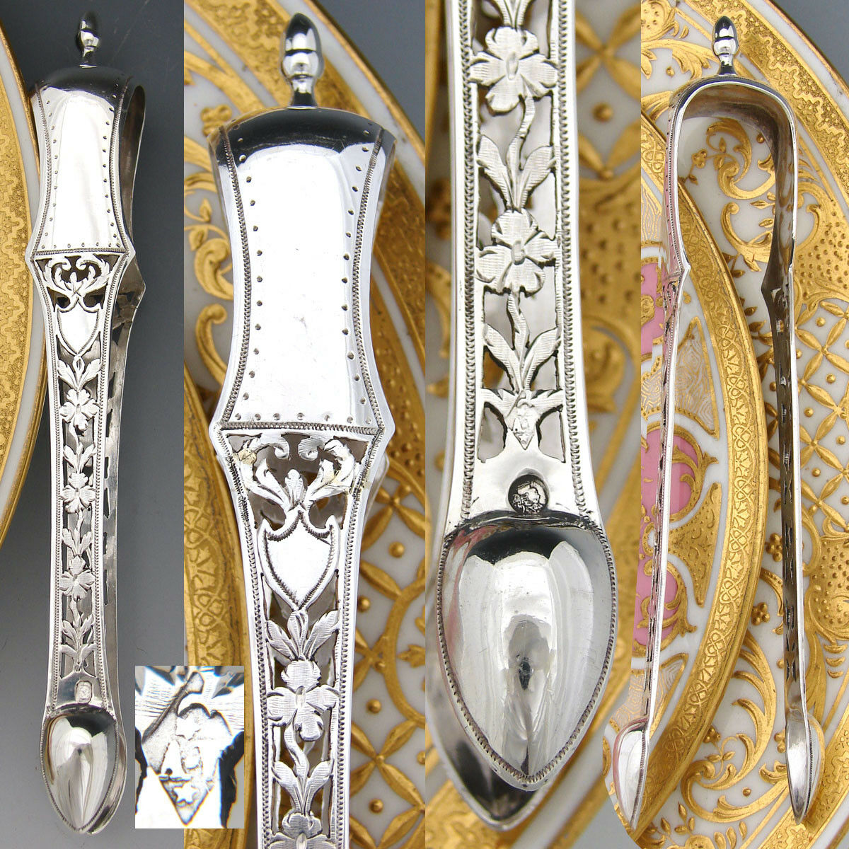 Antique French Sterling Silver Sugar Tongs, Pierced Flowers & Foliage, 1819-1838