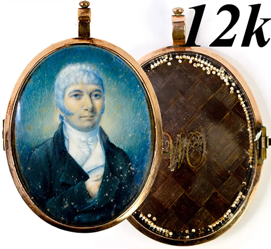 Antique Georgian 12k Gold Locket Frame, Portrait Miniature w Seed Pearls, Hair