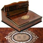 "Exceptional! Antique French Napoleon III Era 12.5"" Writer's Chest, Box, Lap Desk, Boulle"