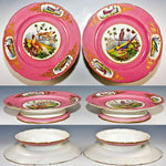 Pair of Antique Hand Painted Old Paris Raised Tazza Cake Plates, Platters