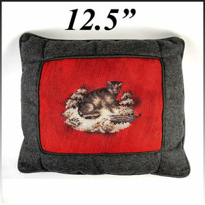 Antique Victorian Beadwork Kitten, Cat, Made into Throw Pillow, Wool Needlepoint
