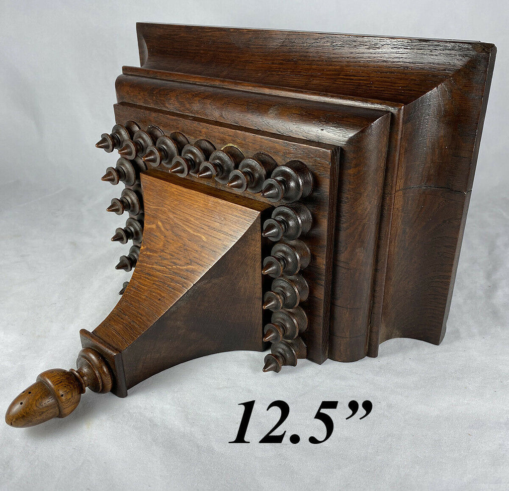 "Solid Oak Antique Bracket or Clock Shelf, Lathe Turned Wood Design, 12.5"" x 8"""