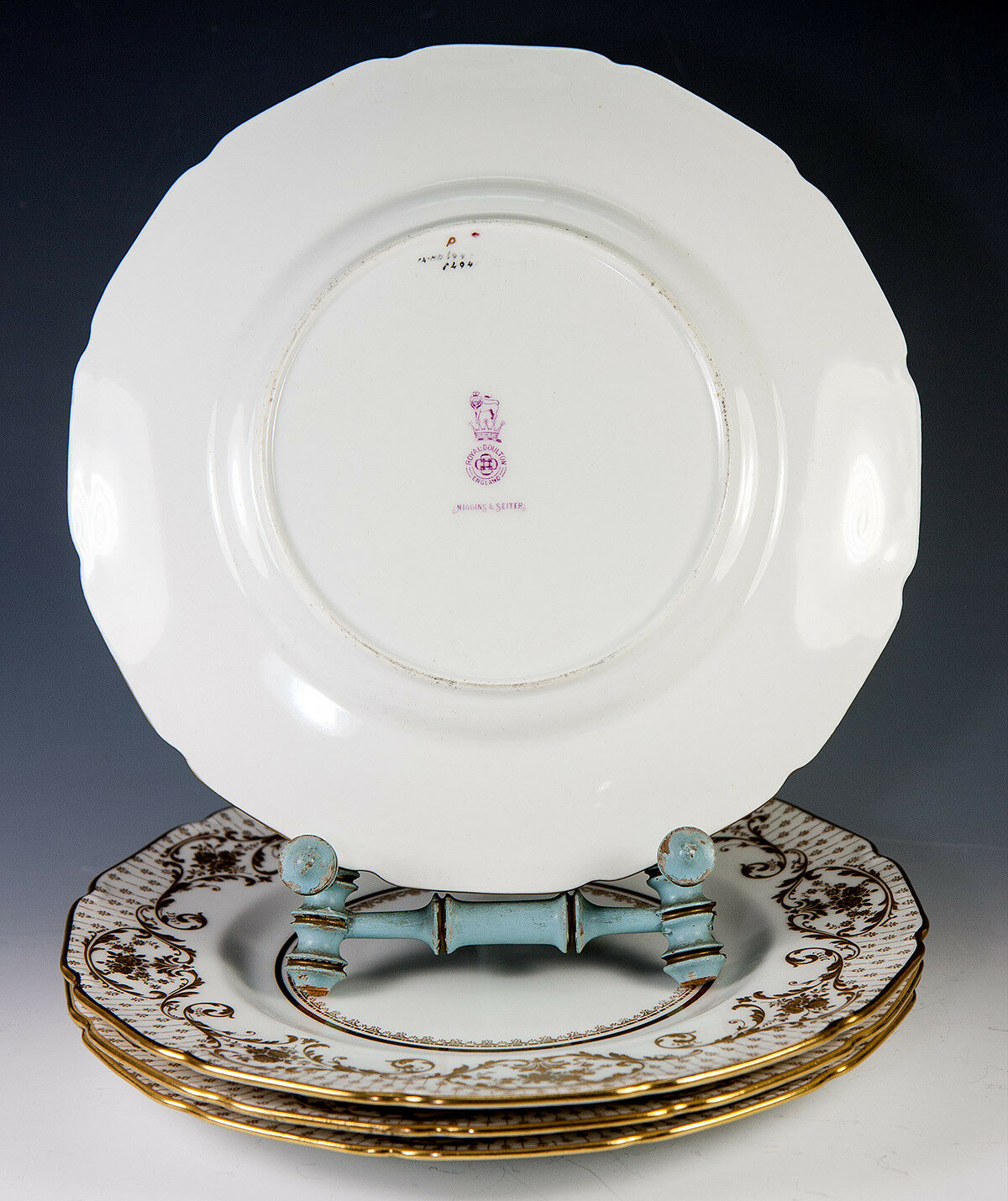 4 Opulent Antique Royal Doulton Raised Gold Enamel & Cobalt Dinner Plate Set