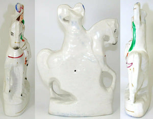 "Antique English Staffordshire Decorative Figure, Woman on Horse, 11 3/8"" Tall"