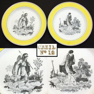 "PAIR of Antique Creil 8 3/8"" Cabinet Plates, Yellow Borders, ""Mars"" & ""Avriel"""