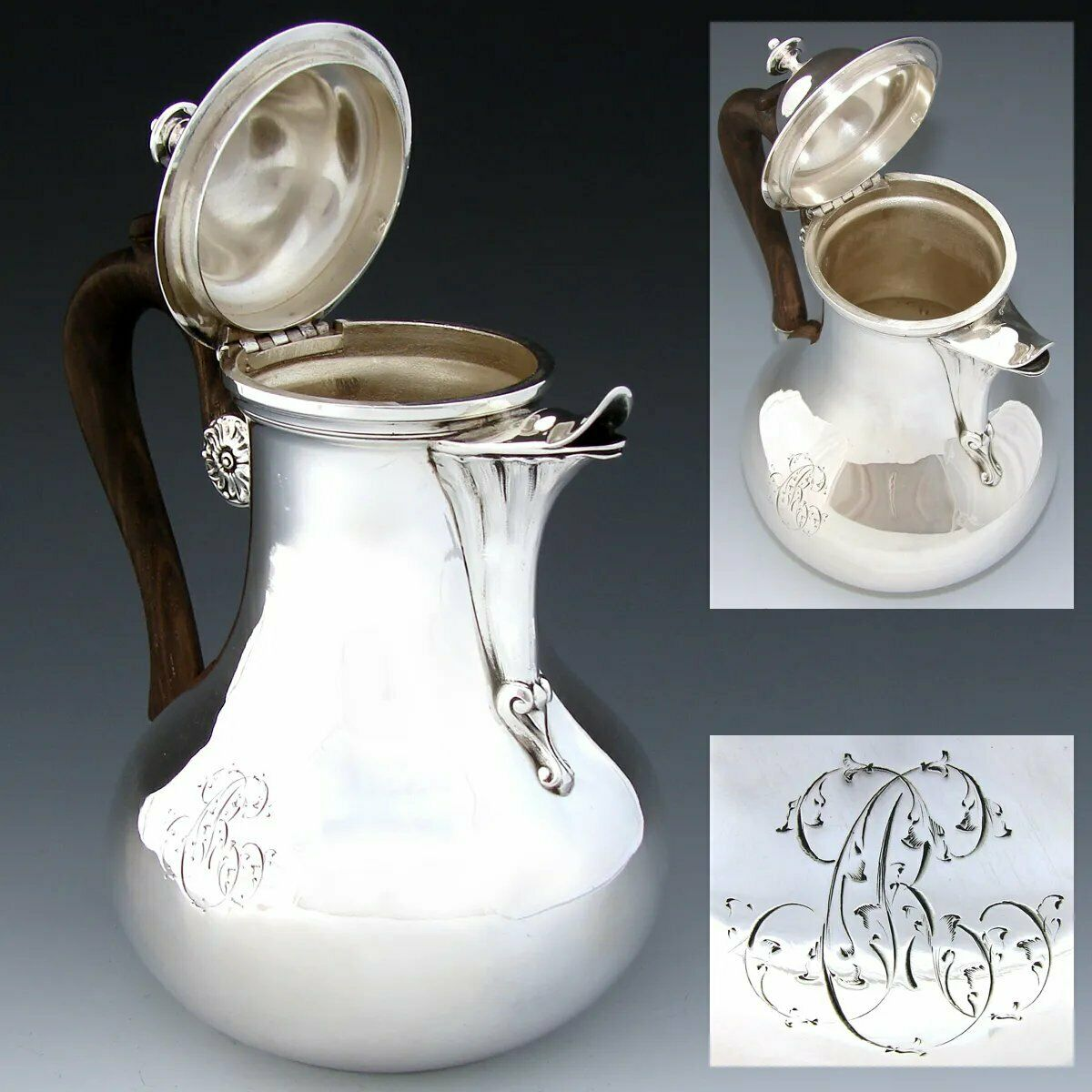"Antique French ODIOT Sterling Silver Solitaire Sized Tea or Coffee Pot, ""RC"" Mon"