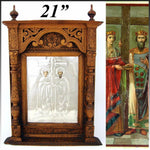 "Antique Russian Hand Carved 21"" Cabinet Style Icon Frame, Silver Foil Lithograph"