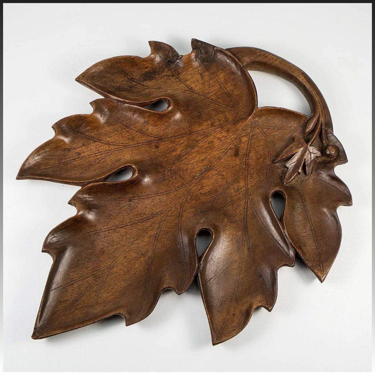 "Antique Carved Wood Black Forest Serving Tray, 11"" x 9"" Carved Leaf"