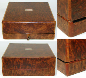 Antique French Burled Jewelry Box, Case, Etui, Pearl Cartouche, Orig. Interior