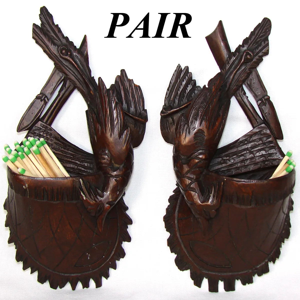 PAIR: Antique Black Forest Hunt Match or Toothpick Holders, Game Birds, Satchels