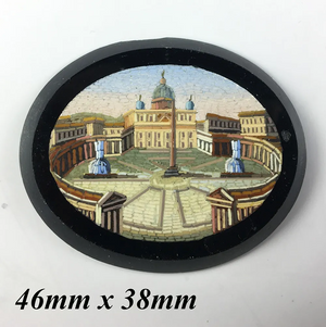 Antique Victorian Era Micro Mosaic of St. Peter's Square, Rome, 46mm for Pendant