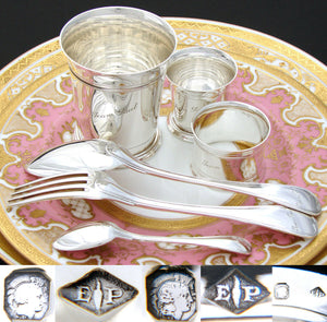PUIFORCAT French Sterling Silver 6pc Christening Set: Tumbler, Napkin Ring+, Box