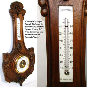 "Antique French Victorian to Edwardian Carved Walnut 26"" Barometer, Thermometer"