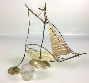 Antique French Mother of Pearl Shell Boat Inkwell and Pocket Watch Stand, Tray