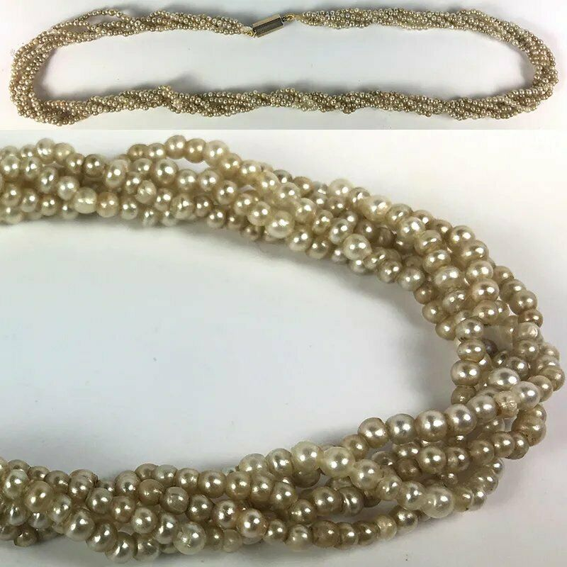 "Antique Victorian to Edwardian 5 Strand Seed Pearl Torsade Necklace, 16"" 14k"