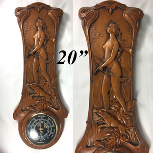 "Antique French Carved Art Nouveau Barometer, 20.5"" Long, Diana the Huntress, Dog"