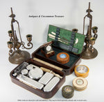 Antique French Vanity Travel Set, Hardwood Case by DUBREUIL, Inkwell & Jars