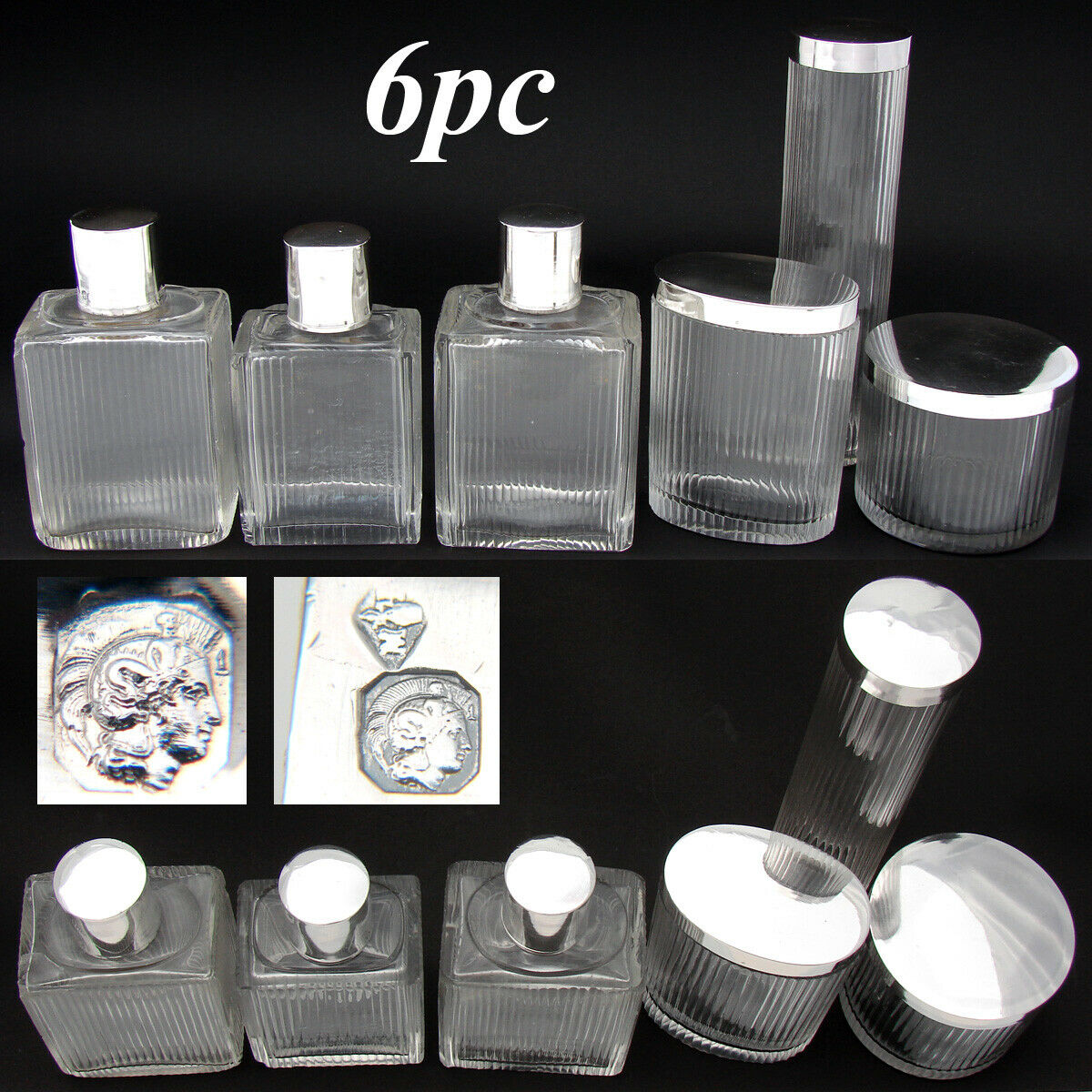 Vint. French Sterling Silver & Cut Glass 6pc Vanity Set, Jars & Perfume Bottles
