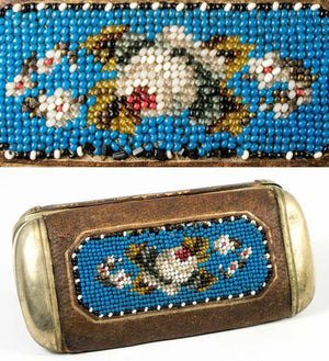 Antique Edwardian to Victorian Beadwork Cigar Case, Hard Side, Spectacles Case