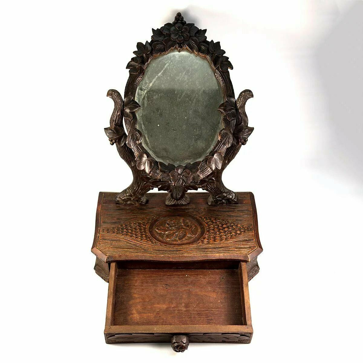 "Antique HC Black Forest 17.5"" Tall Vanity Stand, Mirror & Drawer (12"")"