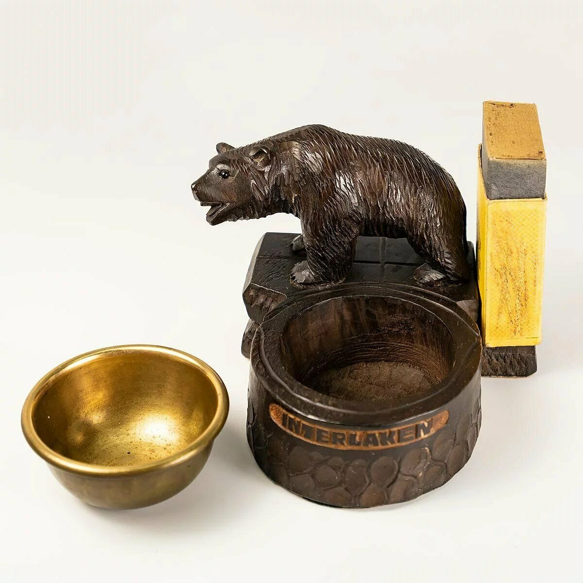 Antique HC Black Forest Bear, Smoker's Stand, Ashtray, Match Holder
