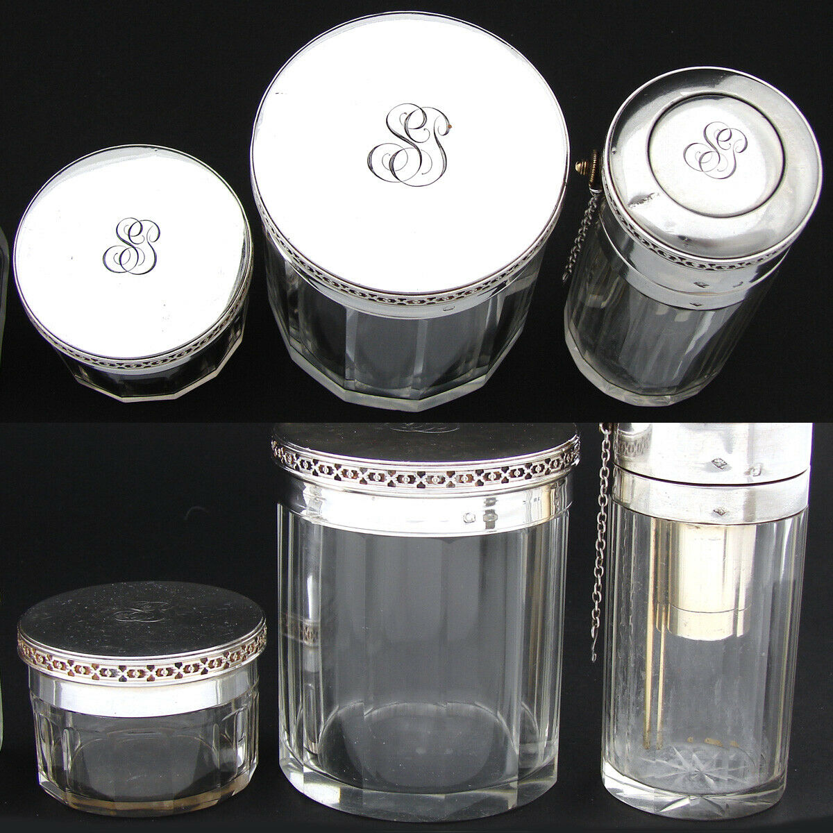 Antique French Sterling Silver & Cut Glass 6pc Vanity Jar, Perfume Bottle Set